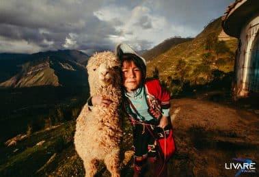 menino peruano ao lado de uma lhama no valle sagrado do incas