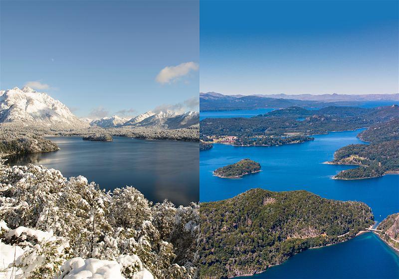 a direita vista do lago nahuel huapi com neve a esqueda vista do lago nahuel huapi no verão