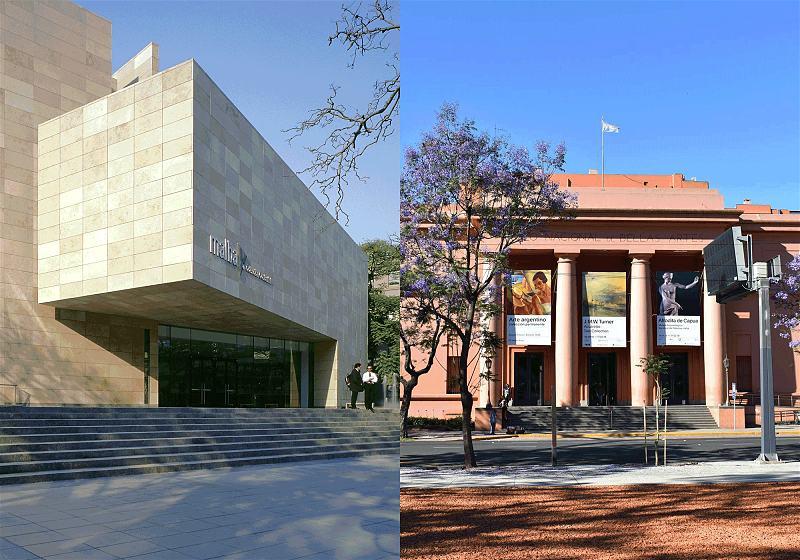 à esquerda museu de arte latinoamericana de buenos aires à direita museu nacional de belas artes