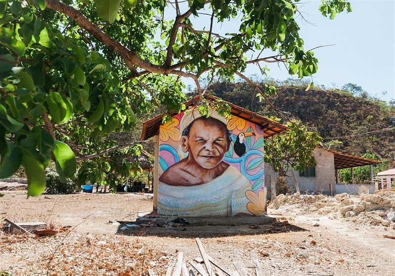 parede de casa grafitada com imagem de senhor indígena da comunidade kalunga com árvore ao lado