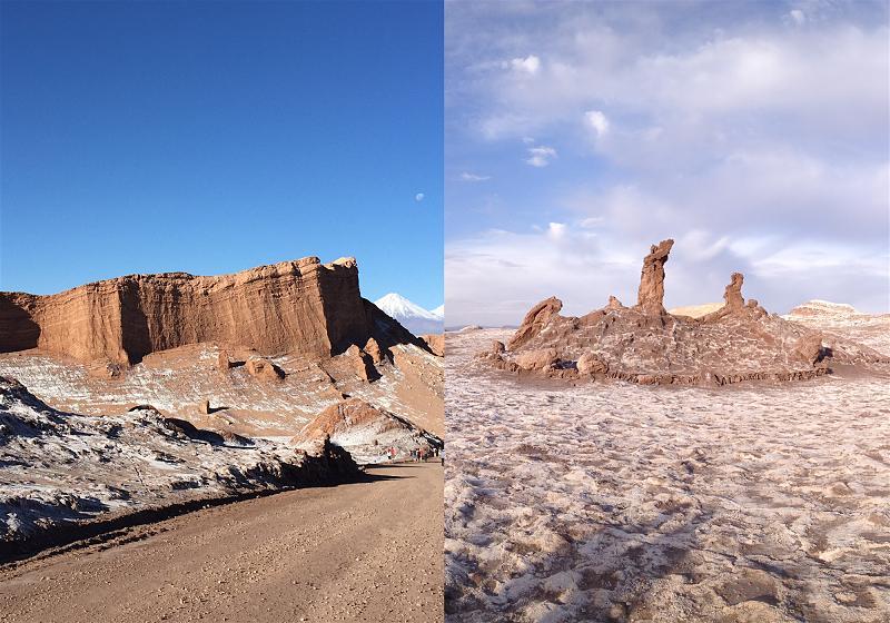 a esquerda formação rochosa anfiteatro a direita formação rochosa tres marias no valle de la luna